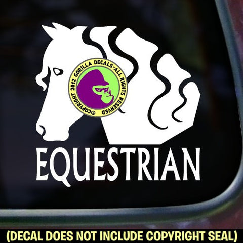 EQUESTRIAN SIDE FACE VIEW Vinyl Decal Sticker