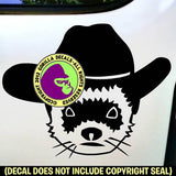 Ferret with Cowboy Hat Weasel Vinyl Decal Sticker