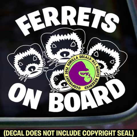 FERRETS ON BOARD Weasel Vinyl Decal Sticker