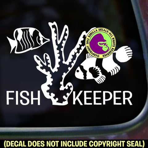 FISH KEEPER Aquarium Vinyl Decal Sticker