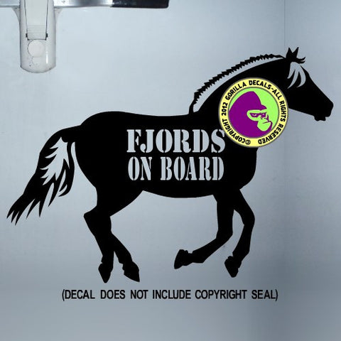 FJORDS ON BOARD Horse Trailer Vinyl Decal Sticker