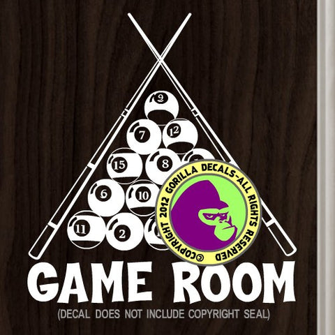 GAME ROOM 8 Ball Pool Billiards Vinyl Decal Sticker