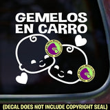 GEMELOS EN CARRO Twins on Board Spanish Vinyl Decal Sticker