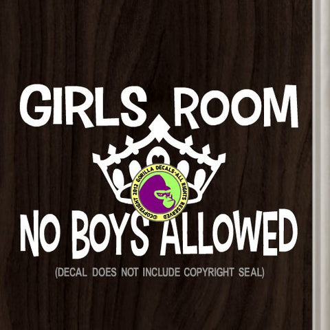 GIRLS ROOM NO BOYS ALLOWED Vinyl Decal Sticker
