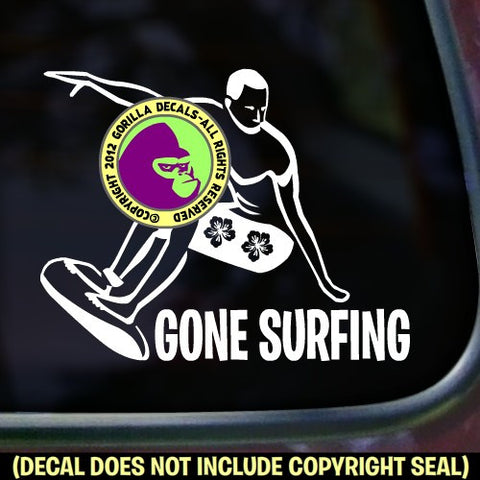 GONE SURFING Surfer Vinyl Decal Sticker