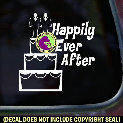 HAPPILY EVER AFTER Gay Marriage Vinyl Decal Sticker
