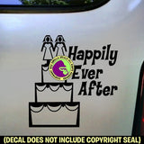 HAPPILY EVER AFTER Lesbian Marriage Vinyl Decal Sticker