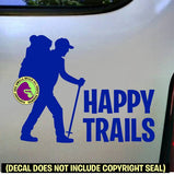 HAPPY TRAILS Hiker Vinyl Decal Sticker