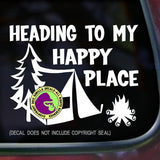 HAPPY PLACE CAMPING Vinyl Decal Sticker