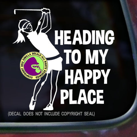HEADING TO MY HAPPY PLACE Female Golfer Vinyl Decal Sticker