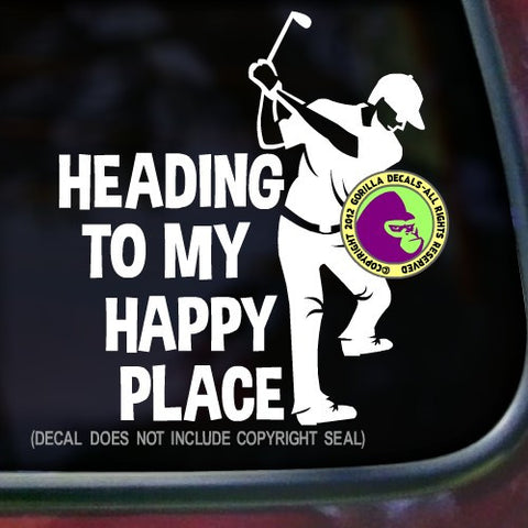 HEADING TO MY HAPPY PLACE Male Golfer Vinyl Decal Sticker