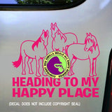 HEADING TO MY HAPPY PLACE Herd Vinyl Decal Sticker