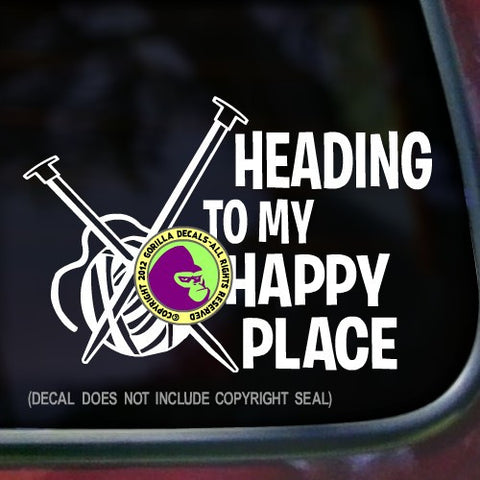 HEADING TO MY HAPPY PLACE Knitting Vinyl Decal Sticker