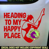 HAPPY PLACE Female Springboard Diver Vinyl Decal Sticker
