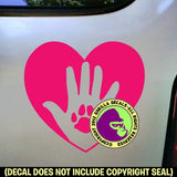 HEART PAW HAND Vinyl Decal Sticker