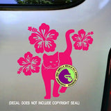 HIBISCUS CAT Vinyl Decal Sticker