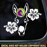 HIBISCUS DONKEY Burro Mule Mini Love Vinyl Decal Sticker