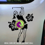 HIBISCUS GOLF Female Golfer Vinyl Decal Sticker
