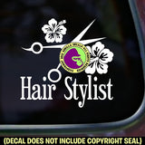 HAIR STYLIST HIBISCUS Shears Vinyl Decal Sticker