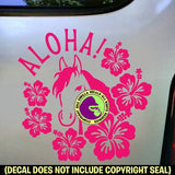 ALOHA Hibiscus Hawaiian Horse Vinyl Decal Sticker