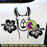 HIBISCUS LLAMA Vinyl Decal Sticker