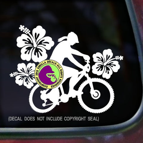 HIBISCUS Female Mountain Biker Vinyl Decal Sticker