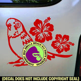 HIBISCUS BUDGIE Parakeet Vinyl Decal Sticker