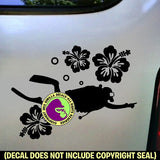 Hibiscus Scuba Diver Diving Vinyl Decal Sticker