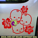 HIBISCUS TRIPLETS Sign Vinyl Decal Sticker