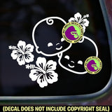 Hibiscus Twins Vinyl Decal Sticker