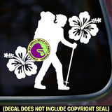 HIBISCUS Female Hiker Vinyl Decal Sticker