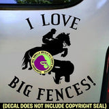 I LOVE BIG FENCES Cross Country Vinyl Decal Sticker