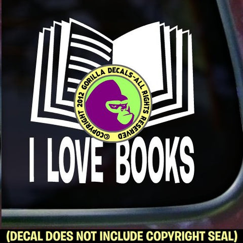 I LOVE BOOKS Vinyl Decal Sticker