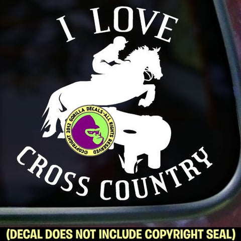 I LOVE CROSS COUNTRY Vinyl Decal Sticker