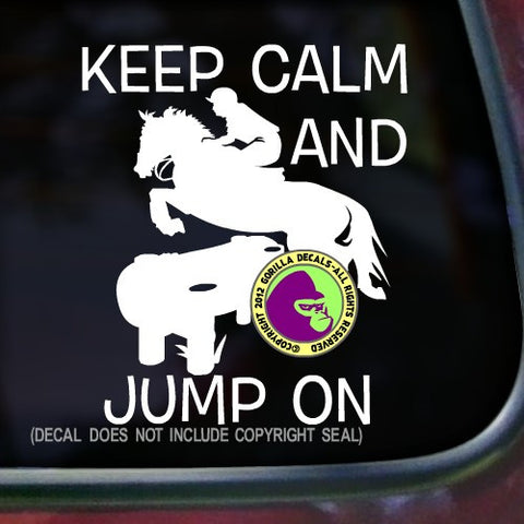 KEEP CALM AND JUMP ON Cross Country Vinyl Decal Sticker