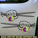2 for 1 Price KNIT & PURL FIST Needles Knitting Vinyl Decal Sticker