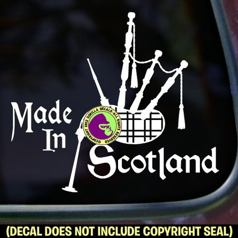 Bagpipes - MADE IN SCOTLAND Vinyl Decal Sticker