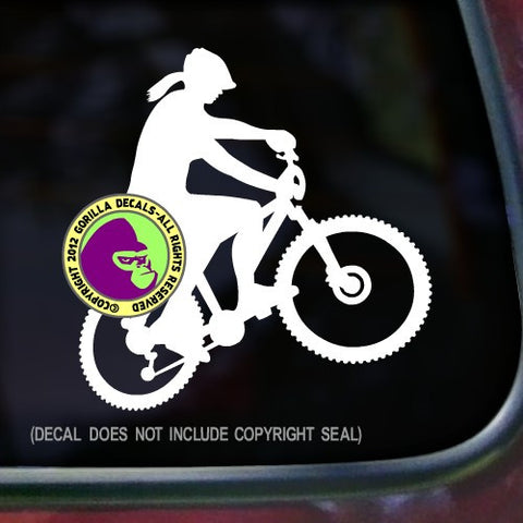 Female Mountain Biker Vinyl Decal Sticker