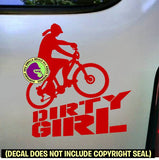DIRTY GIRL Female Mountain Biker Vinyl Decal Sticker