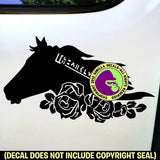 ROSES MUSTANG Horse Vinyl Decal Sticker