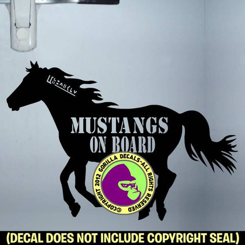 Mustang - MUSTANGS ON BOARD Trailer Vinyl Decal Sticker