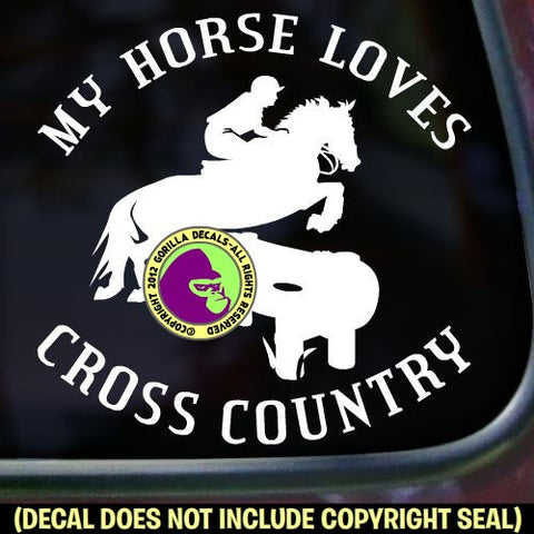 MY HORSE LOVES CROSS COUNTRY Vinyl Decal Sticker