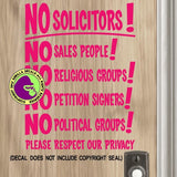 NO SOLICITORS Soliciting Vinyl Decal Sticker