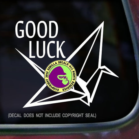 GOOD LUCK Origami Vinyl Decal Sticker