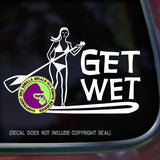 GET WET PADDLING Girl Paddle Board Vinyl Decal Sticker