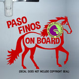 PASO FINO HORSES - PASO FINOS ON BOARD #1 Trailer Vinyl Decal Sticker
