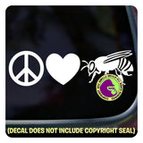 PEACE LOVE BEES Beekeeper Honey Bee Vinyl Decal Sticker