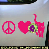 PEACE LOVE CAT Vinyl Decal Sticker