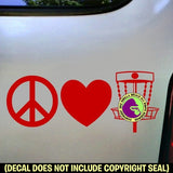 PEACE LOVE DISC GOLF Frisbee Game Vinyl Decal Sticker