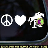 PEACE LOVE JUMPING Hunter Jumper Vinyl Decal Sticker